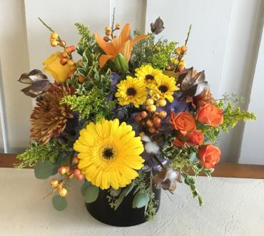 Fall Bouquet in Large Tortoise Shell Container