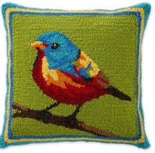 Bluebird Hooked Pillow