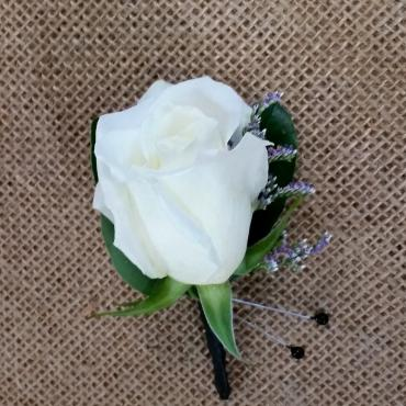 White Rose Boutonniere with Hint of Limonium