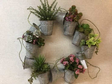 Tin Bucket Wreath