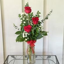 Three Red Roses in Bud Vase