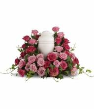 Bed of Pink Roses Urn Piece