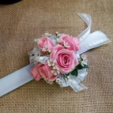 Pink Spray Roses with Accent Flower Wrist Corsage