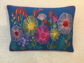 Colorful Floral Garden Pillow