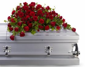 Red Reverance Casket Spray