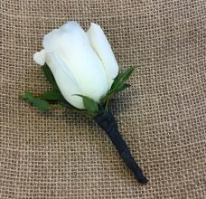 Classic White Rose Boutonnierre
