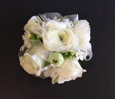 White Mixed Blooms Wrist Corsage