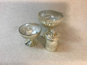 Mercury Glass Compote with Etching