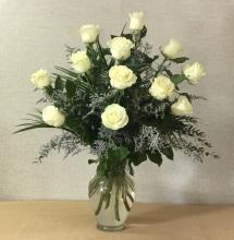 12 Long Stemmed White Roses