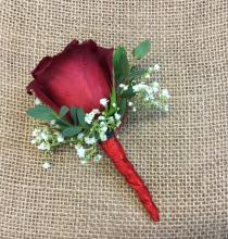 Red Rose Boutonniere with Babies Breath