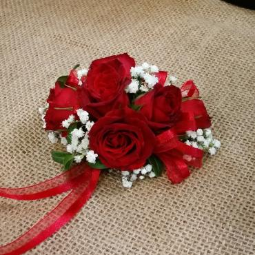 Red Rose Wrist Corsage with Baby\'s Breath
