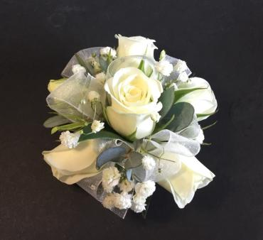 White Rose Wrist Corsage With White Accent