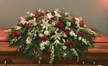 Red and White Tribute Casket Spray
