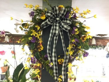 Pansy and Forsythia Wreath