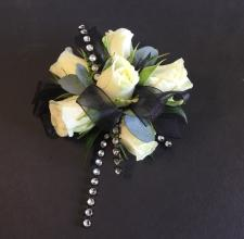 White Rose With Bling Accent Wrist Corsage