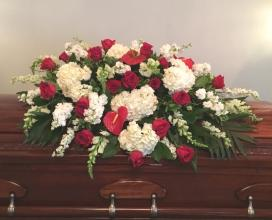 Red and White Casket Tribute