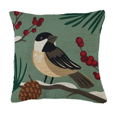 Bird & Pinecone Hooked Pillow